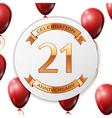 Golden number twenty one years anniversary vector image vector image
