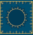 golden pattern on blue in neoclassical style vector image