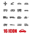 grey vehicles icon set vector image vector image