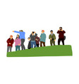 group tourist on top hill hikers rest vector image vector image