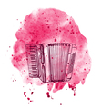 hand drawn accordion on watercolor splash