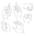 Hands set outline part 5 Fico claw fist plea vector image