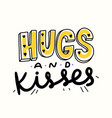 hugs and kisses doodle banner with cute hand drawn vector image vector image