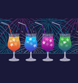 ink hand drawn party drinks colorful collection vector image