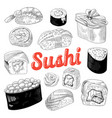 japanese food sushi hand drawn doodle vector image