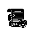 legal document black icon sign on isolated vector image vector image