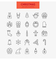 Line Christmas New Year Icons Big Set vector image vector image