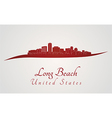 Long Beach skyline in red vector image vector image