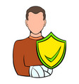 man with broken arm with shield icon cartoon vector image