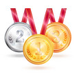 medals for winners challenge vector image vector image