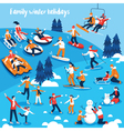 People Engaged In Winter Sports vector image