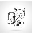 Pets selfie flat line icon vector image