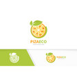 pizza and leaf logo combination food and vector image vector image