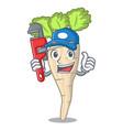 plumber fresh organic parsnip vegetable cartoon vector image