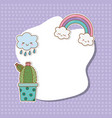 postcard with stickers kawaii vector image vector image