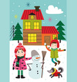 poster with with kids in winter time outdoors vector image vector image
