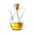 realistic glass virgin oil jug with cork vector image vector image