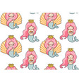 seamless pattern with mermaids vector image