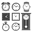Set of different clock icons vector image vector image