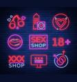 sex shop set of logos signs symbols in neon vector image vector image
