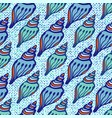 shell blue seamless pattern hand drawn texture vector image