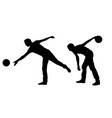 silhouettes people bowling vector image vector image