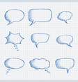 speech bubbles chat symbols on lined paper hand vector image vector image