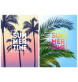 summer tropical backgrounds set with palms sky vector image