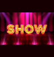 the stage of the show and the show with bright vector image vector image