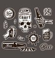vintage brewing monochrome elements collection vector image