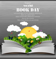 world book day with open book and green grass vector image vector image