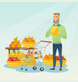 young caucasian man checking shopping list vector image vector image