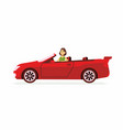young woman driving a car - cartoon people vector image vector image