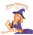 Halloween beautiful witch with pumpkin eps10 vector image