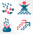 Money and success flat icons vector image
