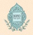 Boho style background Blue decorative frame vector image