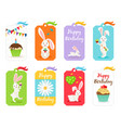 happy birthday cards and invitation tags vector image