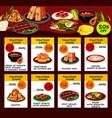 malaysian cuisine restaurant menu template design vector image