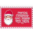 merry christmas text and santa claus face in frame vector image