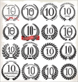 10 years anniversary laurel wreaths vector image vector image