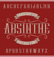absinthe label font and sample label design vector image vector image