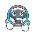angry steering wheel in a mascot box vector image vector image