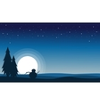 At night snowman scenery silhouettes vector image vector image