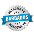 Barbados 3d silver badge with blue ribbon vector image vector image