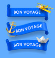bon voyage blue ribbons vector image