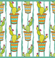 cactus seamless pattern colorful cartoon flowers vector image vector image