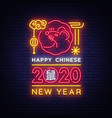 chinese new year 2020 neon sign year of vector image vector image