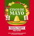 cinco de mayo mexican party banner invitation vector image vector image