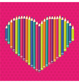 colored pencils forming a heart on pink dots vector image