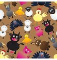 colorful farm animals simple icons seamless vector image